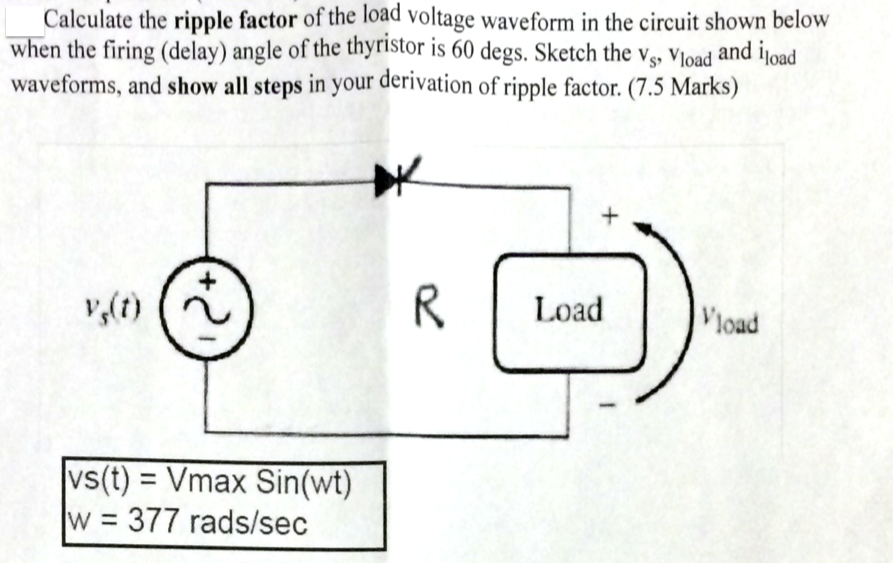 calculate the ripple factor of the load voltage wa