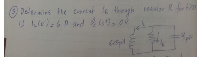Determine the current i_R through resistor R for t