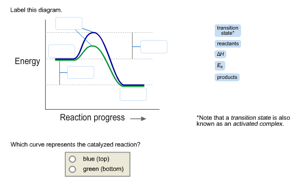 label this diagram which curve represents the catalyzed reaction ...