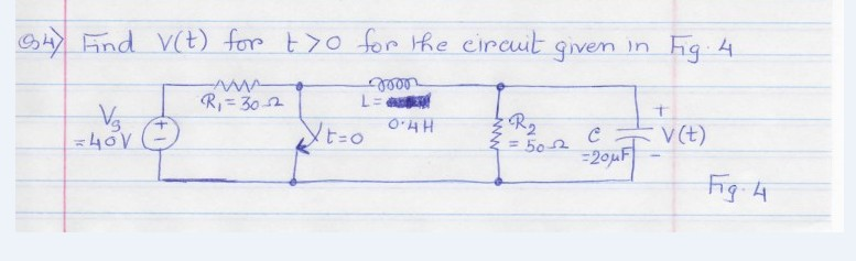 Find v(t) for t > 0 for the circuit given in fig.