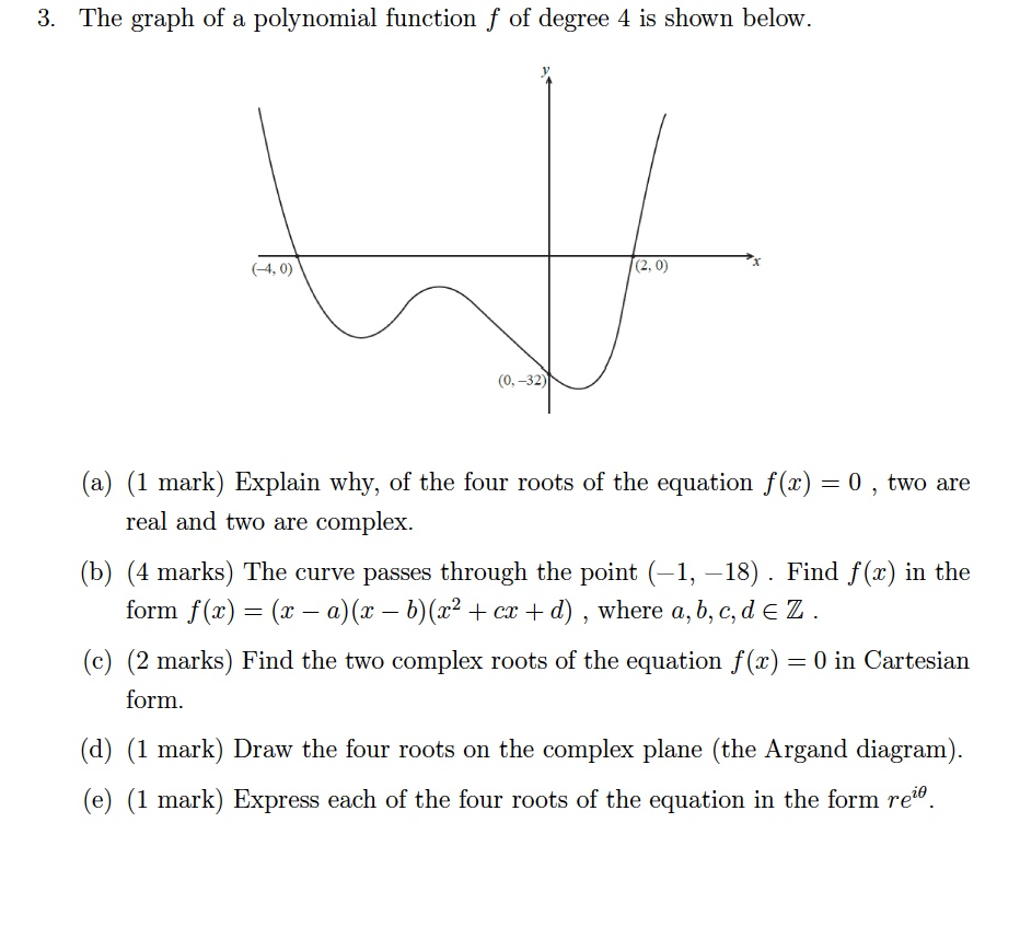 Solved the graph of a polynomial function f of degree 4 i 3 the graph of a polynomial function f of degree 4 is shown below pooptronica Choice Image