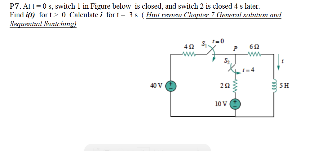 At t = 0 s, switch 1 in Figure below is closed, an