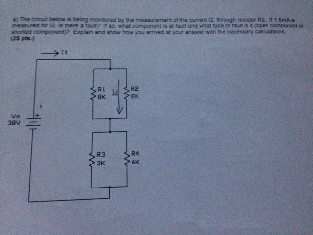 The circuit below is being monitored by the measur