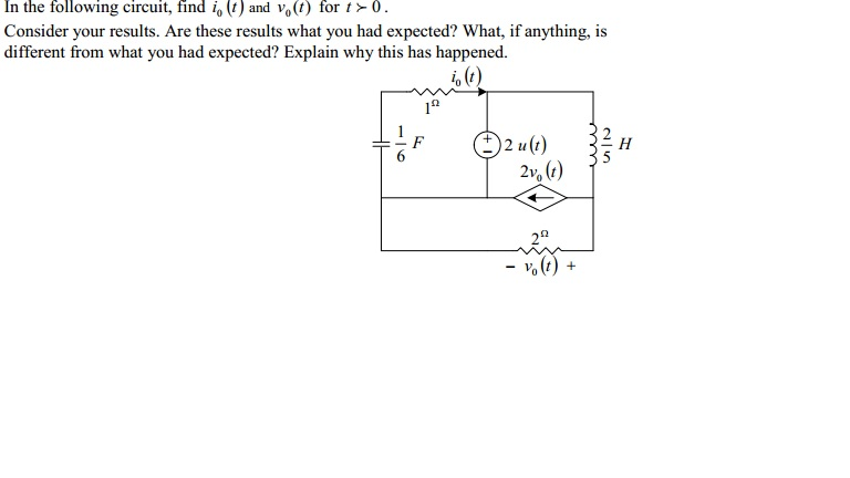 In the following circuit, find i0 (t) and v0(t) fo