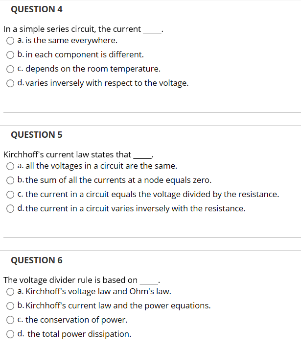 Question 4 in a simple series circuit the current chegg question 4 in a simple series circuit the current o a is the same sciox Images