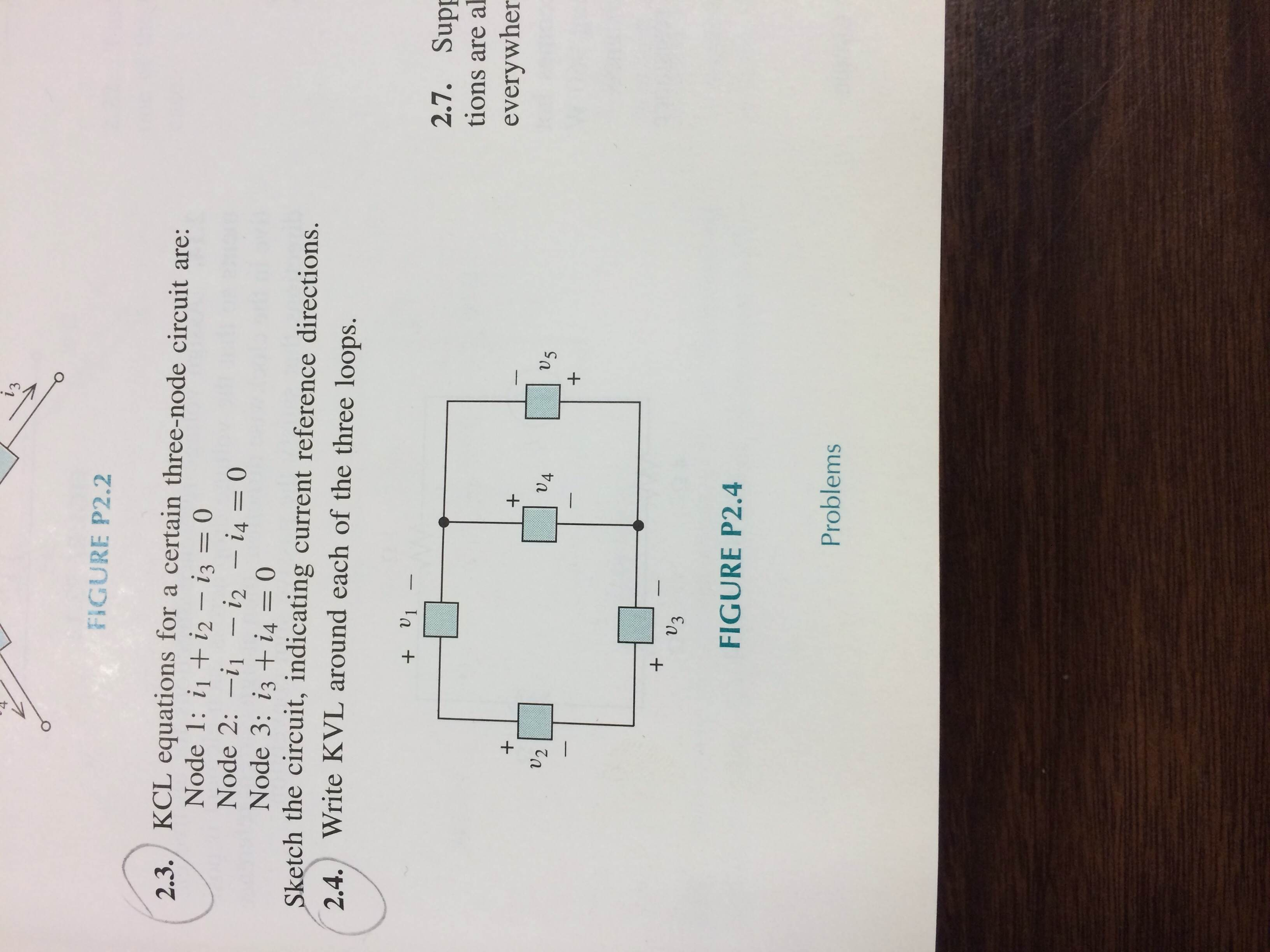 KCL equations for a certain three-node circuit are