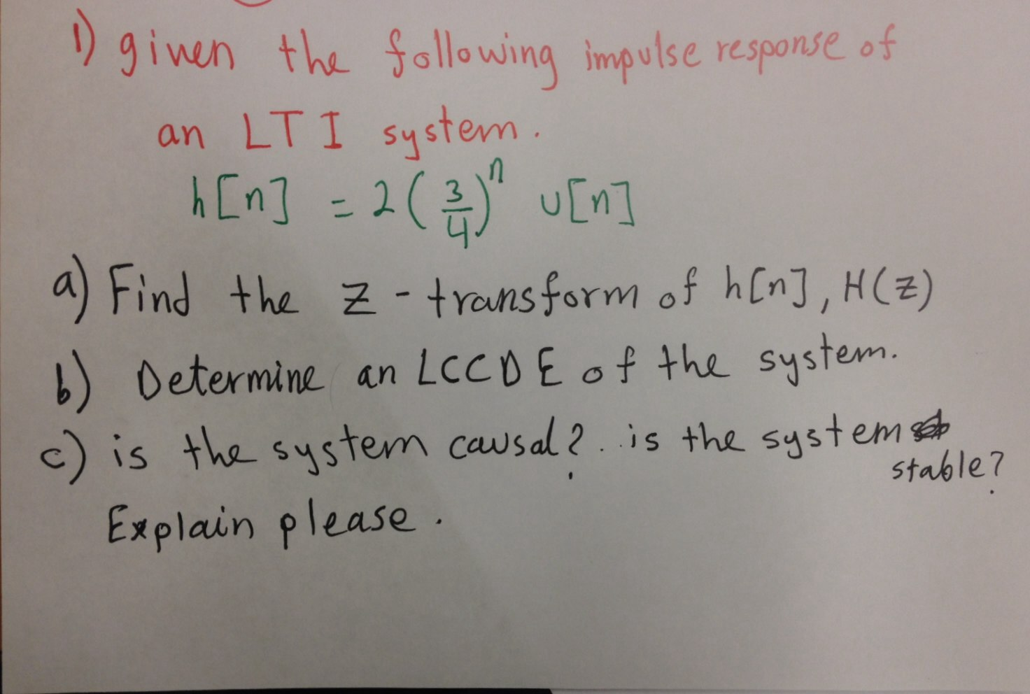 Given the following impulse response of an LTI sys