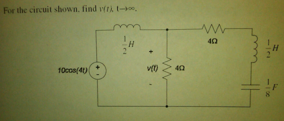 For the circuit shown, find v(t), t rightarrow inf