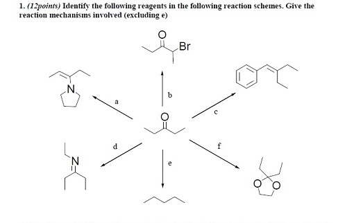 Identify the following reagents in the following r