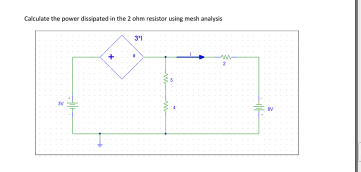 Calculate the power dissipated in the 2 ohm resist