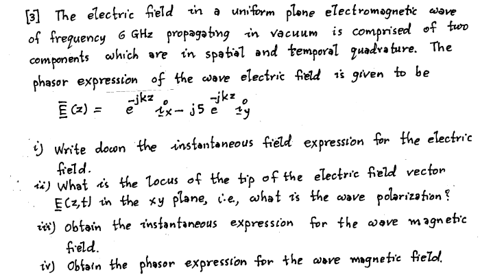 The electric field in a uniform plane electromagne