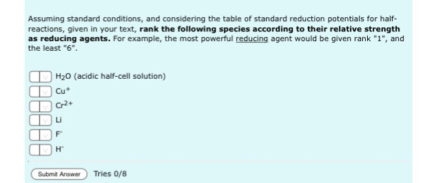 Solved Assuming Standard Conditions And Considering The