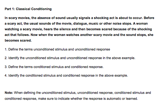 Solved: Part 1: Classical Conditioning In Scary Movies, Th ...