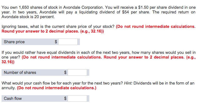You Own 1,650 Shares Of Stock In Avondale Corporat... | Chegg.com