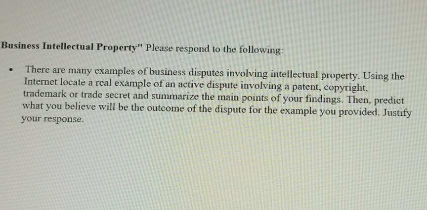 Solved Business Intellectual Property Please Respond To