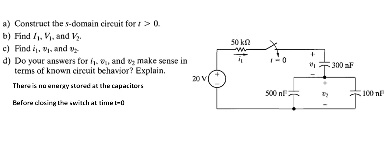 Construct the s-domain circuit for t > 0. Find I