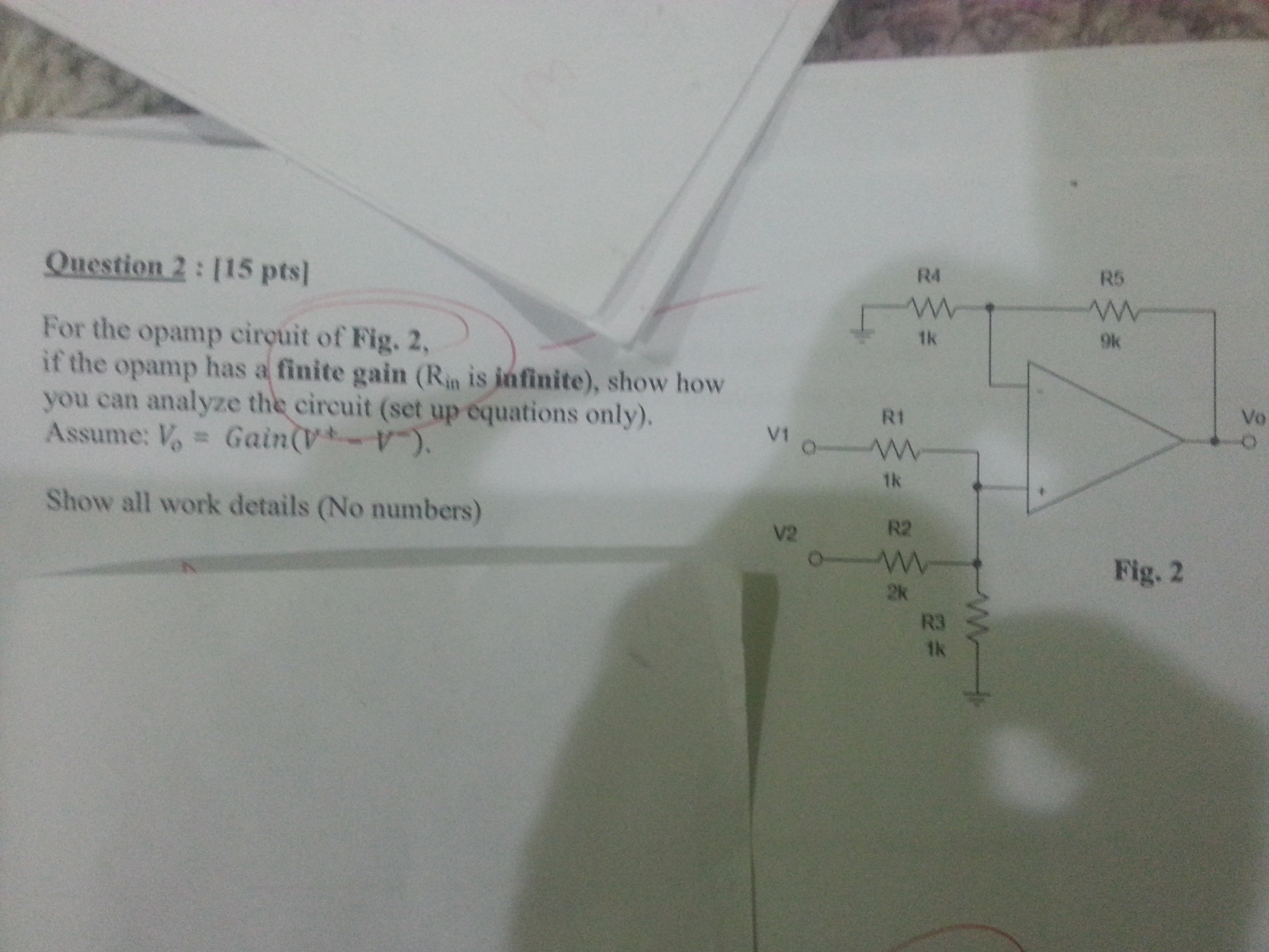 For the opamp circuit of Fig.2, if the opamp has a