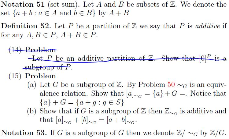 Notation 51 (set Sum). Let A And B Be Subsets Of Z.