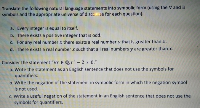 Solved Translate The Following Natural Language Statement
