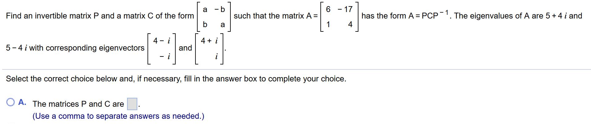 Find An Invertible Matrix P And A Matrix C Of The ... | Chegg.com