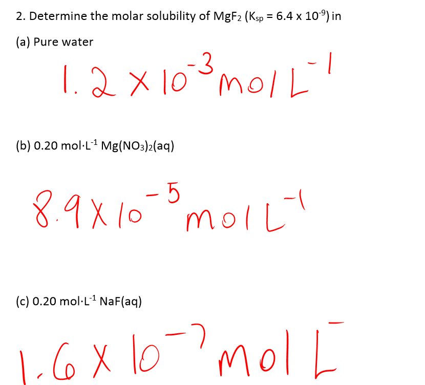 molar solubility Pre-lab hints 1 a) molar solubility (molsol) is the saturated concentration of pbi 2 refer to the molsol equations above, and use stoichiometry to find the ratio of pbi.