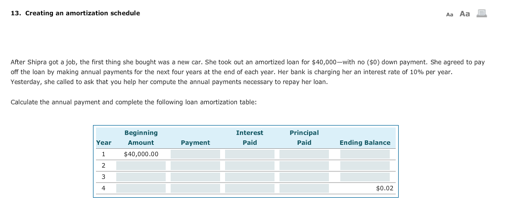 how to make a loan amortization schedule