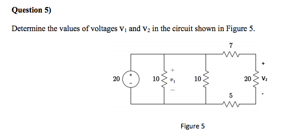 Determine the values of voltages Vi and V2 in the
