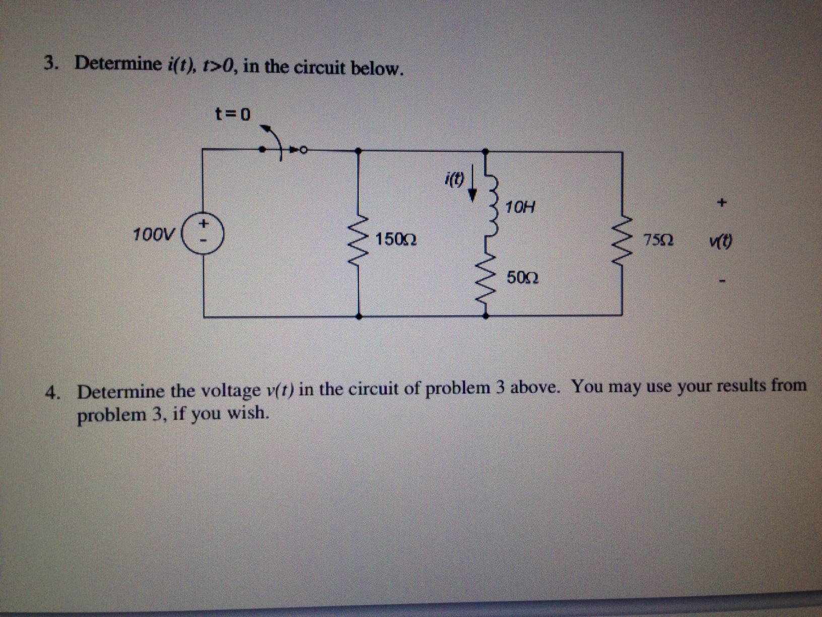 Determine i(t), t>0, in the circuit below. Determ