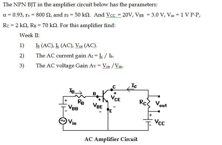 The NPN BJT in the amplifier circuit below has the