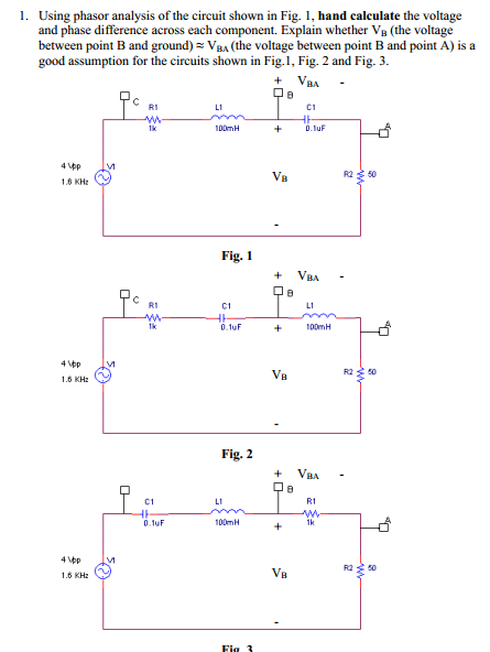 Using phasor analysis of the circuit shown in Fig.