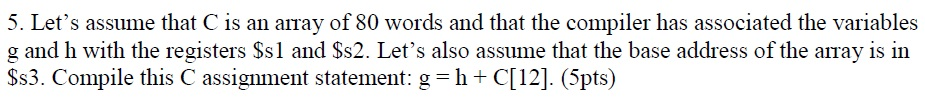 Let's assume that C is ail array of 80 words and t
