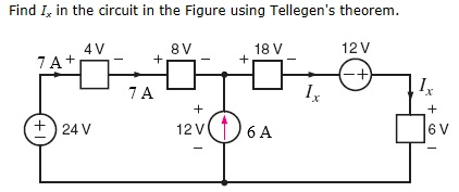 Find Ix in the circuit in the Figure using Tellege