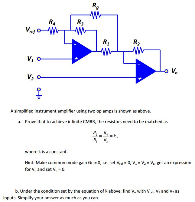 A simplified instrument amplifier using two op amp