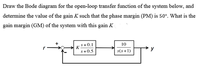 Solved draw the bode diagram for the open loop transfer f question draw the bode diagram for the open loop transfer function of the system below and determine the ccuart Choice Image