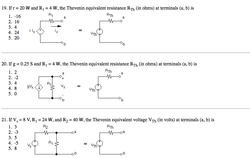 If r = 20 W and R1 = 4 W, the Thevenin equivalent