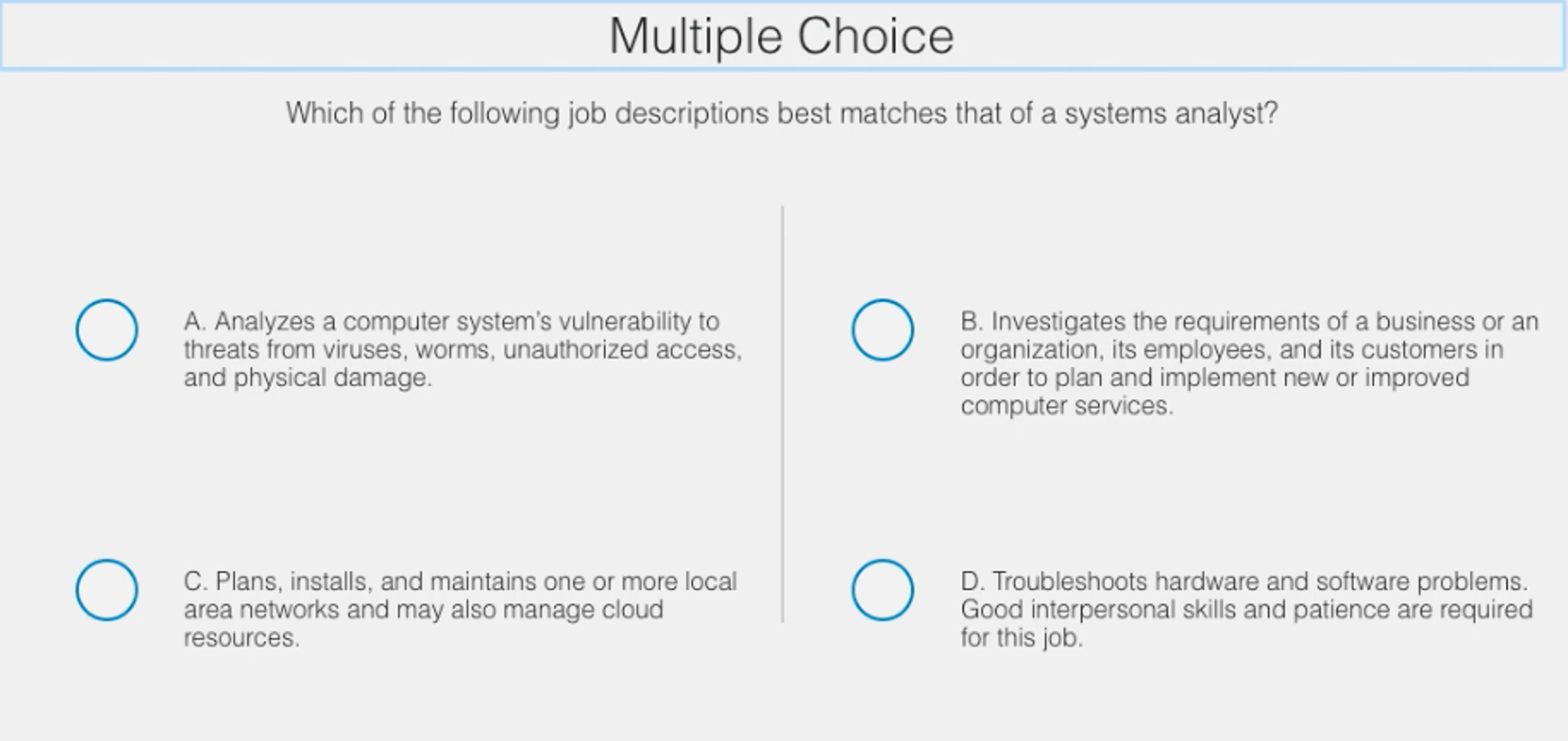 Which Of The Following Job Descriptions Best Match – System Analyst Job Descriptions
