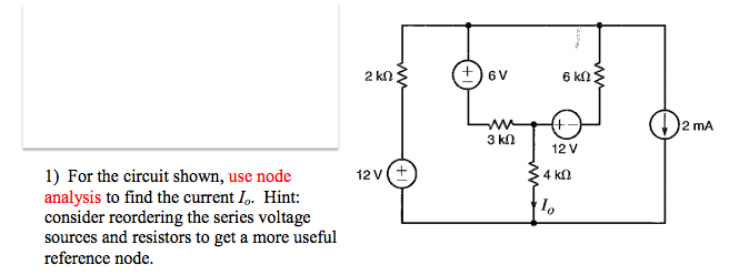 For the circuit shown, use node analysis to find t