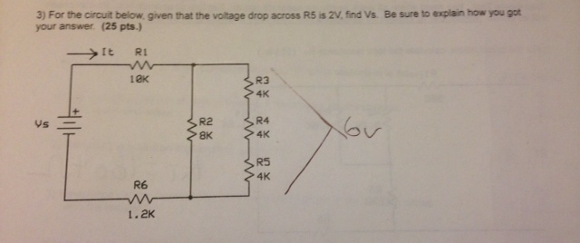 For the circuit below given that the voltage drop