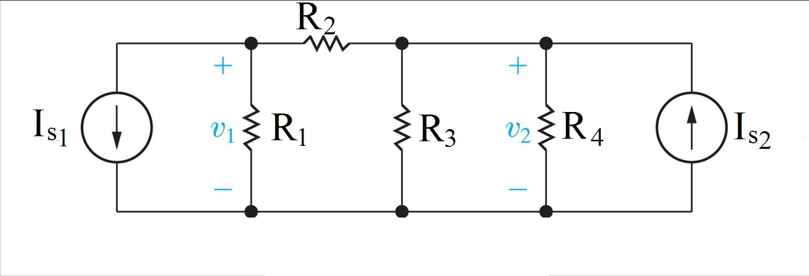 In the circuit, Is1 is 2.3 A, Is2 is 3.3 A, R1 i