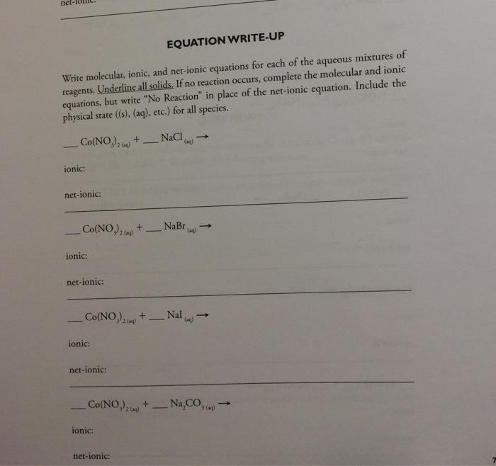 write net ionic equations