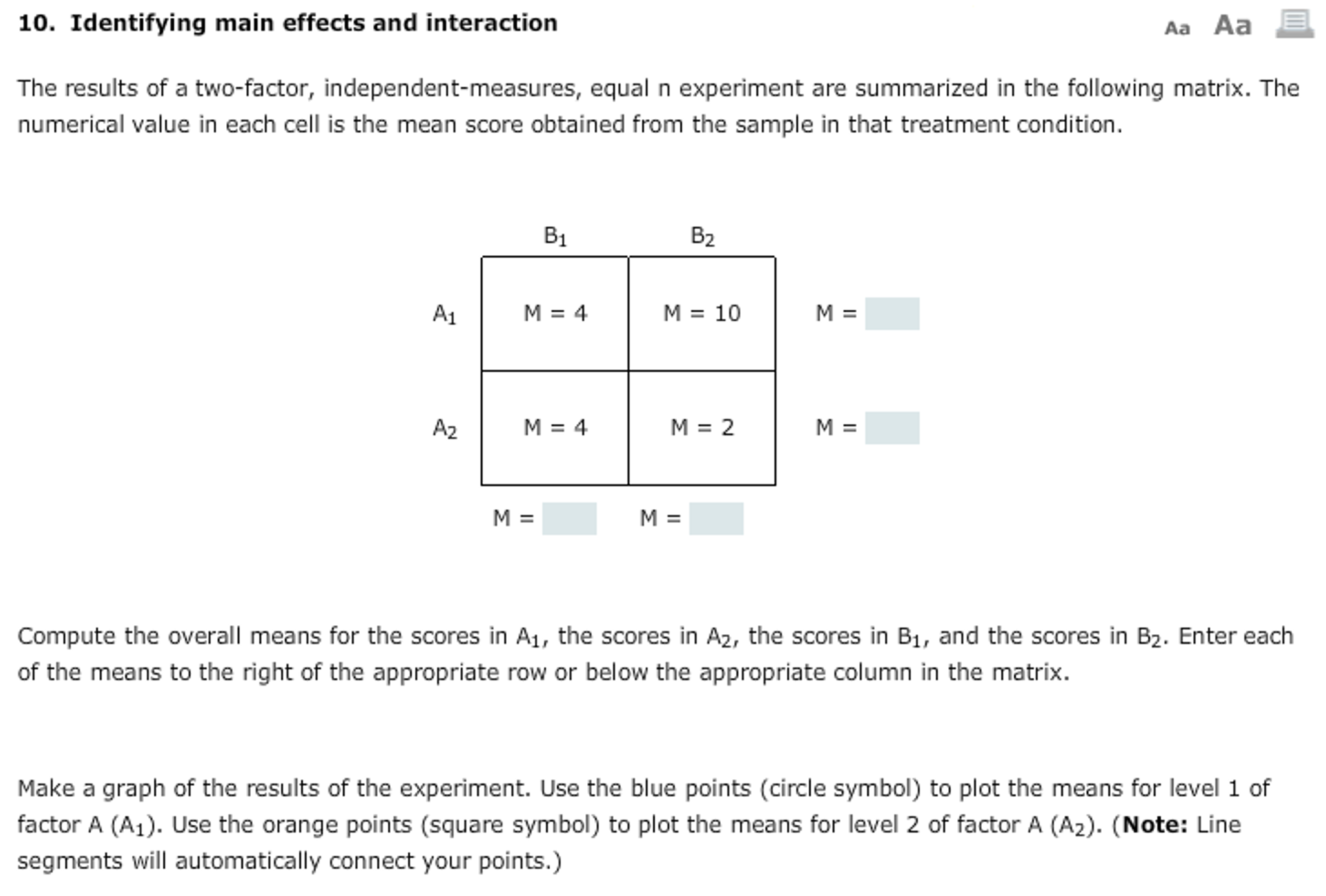 Solved the results of a two factor independent measures question the results of a two factor independent measures equal n experiment are summarized in the follo buycottarizona Choice Image