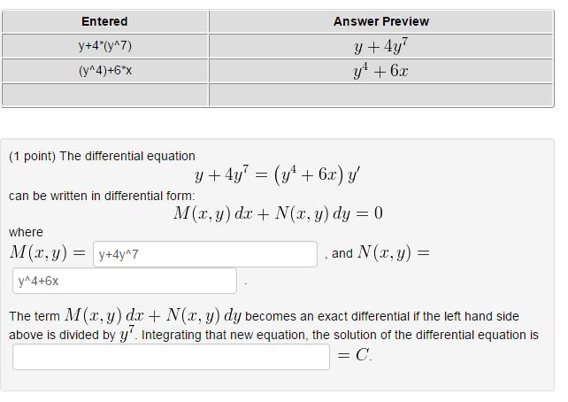 The Differential Equation Y + 4y^7 = (y^4 + 6x)y' ... | Chegg.com