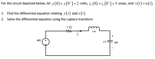 For the circuit depicted below, let y(0) = y(0-) =