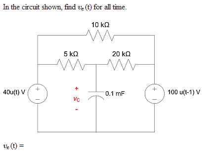 In the circuit shown, find upsilon c (t) for all t