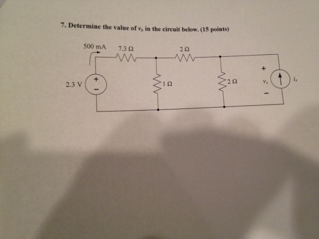 Determine the value of vx in the circuit below.
