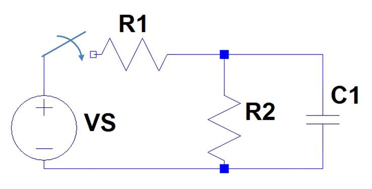 In the circuit, C1=10 uF, R1=6 k, R2=15 k, VS = 40