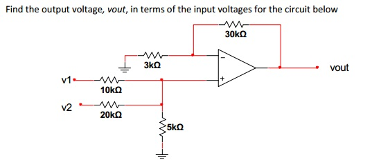 Find the output voltage, vout, in terms of the inp