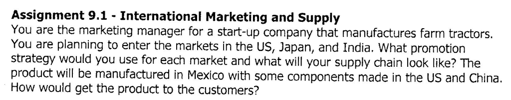 assignment 91 international marketing and supply you are the marketing manager for a start up
