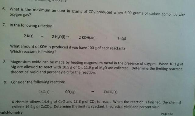 What is the maximum amount in grams of CO2 produce