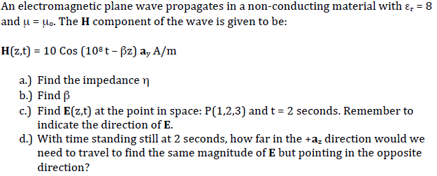 An electromagnetic plane wave propagates in a non-